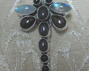 GET 15% OFF Dragonfly Garnet, Amethyst and Moonstone Sterling Silver Pendant