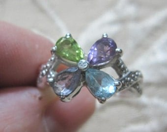 Multi Gemstone Faceted Sterling Silver Ring Sizes 8 1/2 & 10