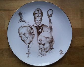 Pope John Paul II Collectors Commemorative 1979 Visit to America Plate, Classic Porcelain with gold trim & beautiful art by Tom Galasinski