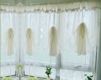 pair of shabby chic fixed valance with hem lace creamy white pullup curtains