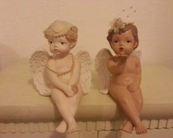 Two Porcelain Shelf Sitter Angels