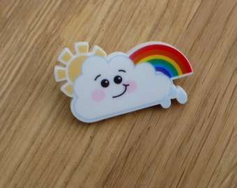 Acrylic Rainbow Cloud Brooch|Kawaii|Cute