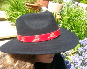 Hand Made Leather HAT BAND, Celtic Deer, Red