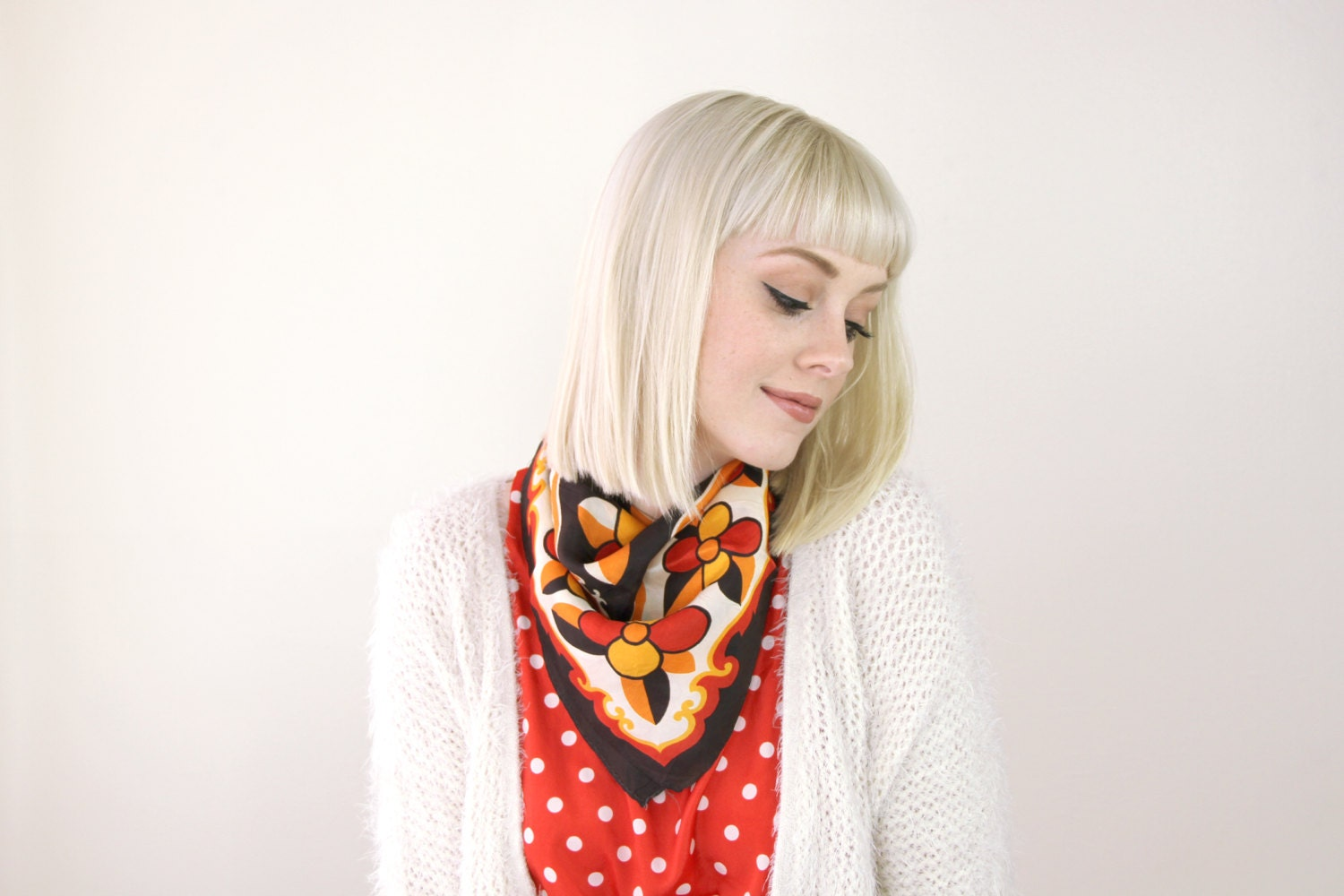 vintage scarf square silk scarf satin hair by moonrevival