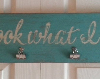 Distressed and vintage look Look what I did child art display sign/kids artwork display/turquoise and white