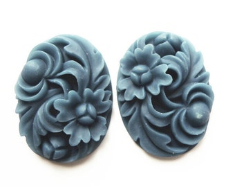 12 pcs of resin floral cameo 30x40mm-0254-42-navy blue