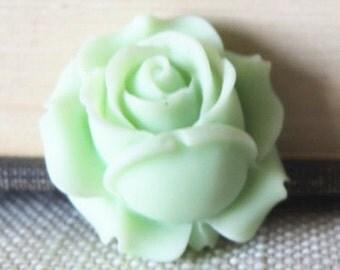 6 pcs of resin rose bud cabochon-25x26x12mm-RC0453-44-mint green