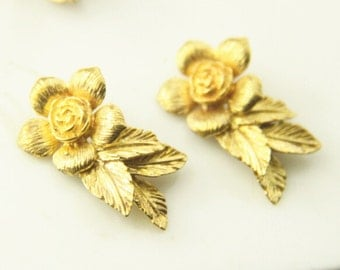 6 pcs of brass  two loop floral charm 26x15mm-1705-raw brass