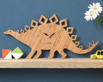 Dinosaur Clock, Stegosaurus Modern Wall Clock, Childrens Clock, laser cut by Owl & Otter