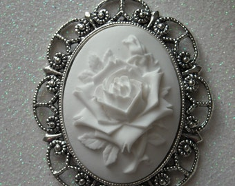 White on White Rose Antique Silver Brooch