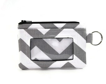 Gray and White Chevron ID Wallet / Keychain Wallet / ID Holder