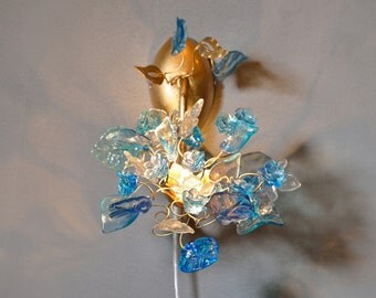 Bouquet wall lamp - sconces with shades of blue color and clear leaves and flowers