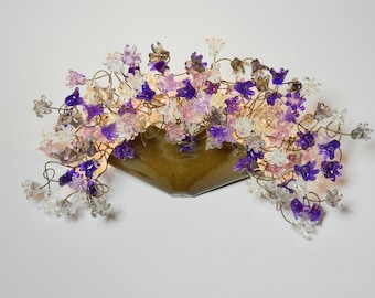 Wall lighting lamp with gray and purple flowers - Decorative wall Sconces with handmade flowers
