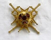 Vintage Maltese Cross Brooch Pendant Signed Rousseau Crossed Swords Heraldic Pin