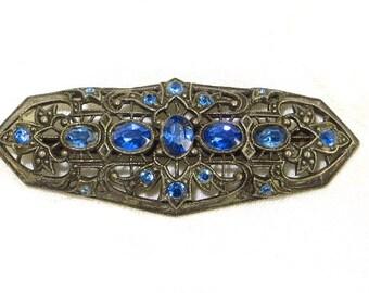 Art Deco Brooch, Czech Style, Cobalt Blue Vintage Pin, Vintage Czech Jewelry