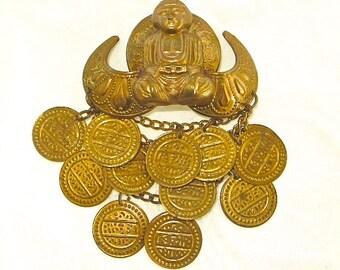 Vintage Buddha Brooch, Coin Dangles, Namaste, Spiritual Jewelry, Buddah Pin