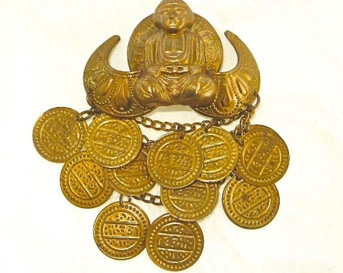 Vintage Buddha Brooch with Coins Namaste Spiritual Jewelry Buddah Pin