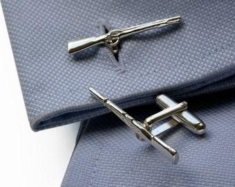 Shotgun Cufflinks in Sterling Silver