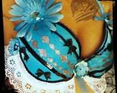 NOCTURNAL WONDERLAND Alice in Wonderland blue and white Rave Go Go Bra