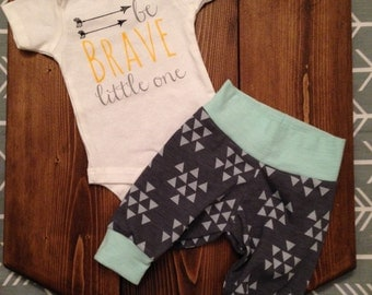 Be Brave Little One !!! 2pc baby boy coming home outfit . Tribal baby set