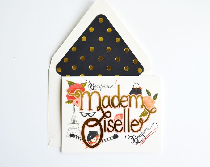 Mademoiselle Greeting Card w/ gold foil