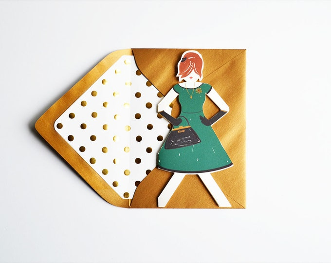 Glamour Girl Paper Doll Card
