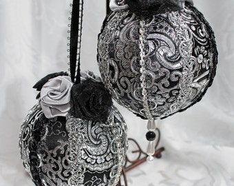 Black and Silver Brocade Victorian Style Ornaments Black Silver Holiday Ornaments