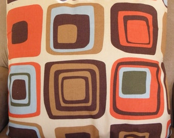 Big Sale !!! Geometric Design, Retro,Orange, Brown,Blue Pillow Cover 18x18