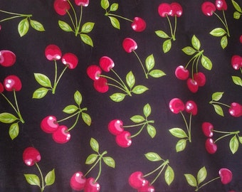 Bright red cherries on black, Valance with red ball trim