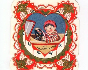 Vintage Boy Driving A Car Die-Cut Valentine's Day Card Made In USA 1930s