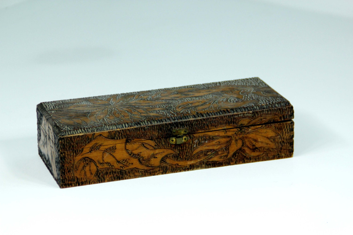 Wooden Glove Box ~ Antique flemish art pyrography glove box wood burned with