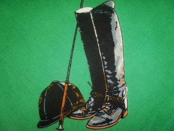 Vintage Equestrian Tablecloth Equine Dressage English Riding Snaffle Bit Helmet Boots Horse Crop Bridle Tack Green Brown Mint Rare