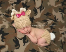 Precious moment deer hat and diaper cover - newborn props - diaper cover - antlers - baby shower gift - Deer Crochet