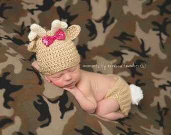 Baby deer outfit, gender neutral gift, deer photo prop, forest baby outfit, crochet baby outfit, hunting baby outfit, baby shower gift