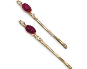 Ruby Gemstone Hairpins in 14k Gold