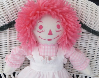 Pink Gingham Baby  Mini Raggedy Ann Doll 15 inches tall Personalized Custom Handmade in the USA