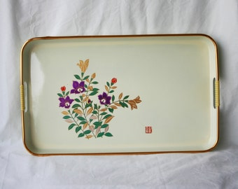 Vintage Serving Tray by Lida's of Japan / Purple Flowers / Decorative Plate and Tray