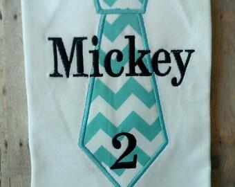 Personalized Tie Birthday Shirt. 1st Birthday, 2nd Birthday, 3rd Birthday, 4th Birthday, 5th Birthday. Chevron