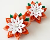 Kanzashi  Fabric Flowers. Set of 2 hair clips. Orange and white hair clips. Girl's hair clips. Kanzashi hair clips. Orange girls hair clips.