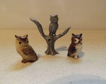 Three Owl Figures