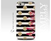 iPhone 6 Case , iPhone 6 Plus , iPhone 7 Case , iPhone 6s Case , Samsung Galaxy Cases , Galaxy S7 Case , Black Stripe Gold Polka Dot