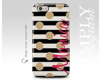 iPhone 7 Case, iPhone 7 Plus, iPhone 6 Case, iPhone 8 Case, Samsung Galaxy Case, Galaxy S7 Case, Galaxy S8 Case, Gold Polka Dots, Monogram