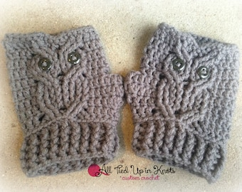 Crochet Cabled Owl Finger-Less Gloves with Button Eyes