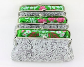 Grey Lace Bridesmaid Clutches / Wedding Clutches with Multi Lining / Design Your Wedding Clutches - Set of 4