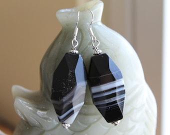 Black Straight Agate Earrings, sterling silver hook