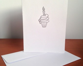 Heat Embossed Card – Birthday Cupcake in Silver on White