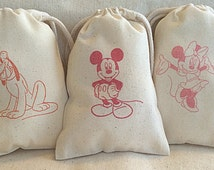 """12 Disney, Mickey Mouse and Friends party favor bags 4"""" by 6"""" made of Organic Cotton, you choose colors"""