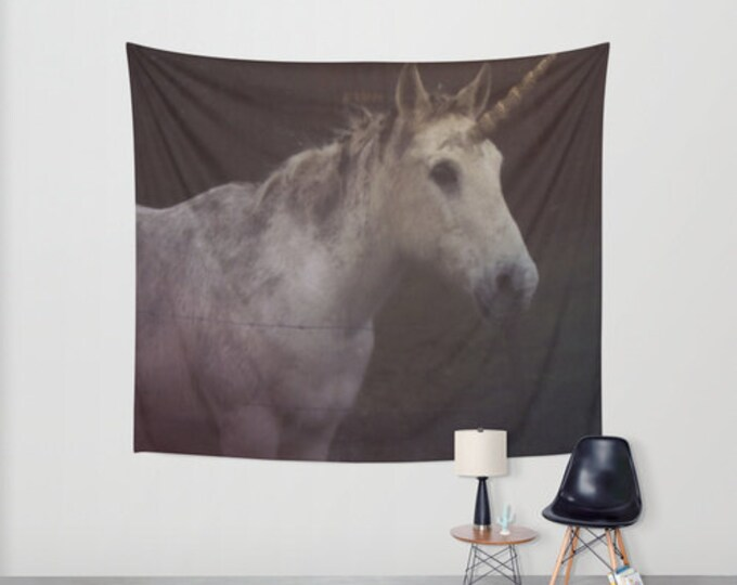 Unicorn Hanging Tapestry - Wall Tapestry - Unicorn Photography - Large Wall Photograph - Fantasy Wall Art - Home Decor - Made to Order