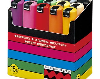 Japan Uni-POSCA PC8K 15C Paint Marker Pen Bold Point Set of 15