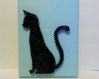 Simple Sitting Cat String Art